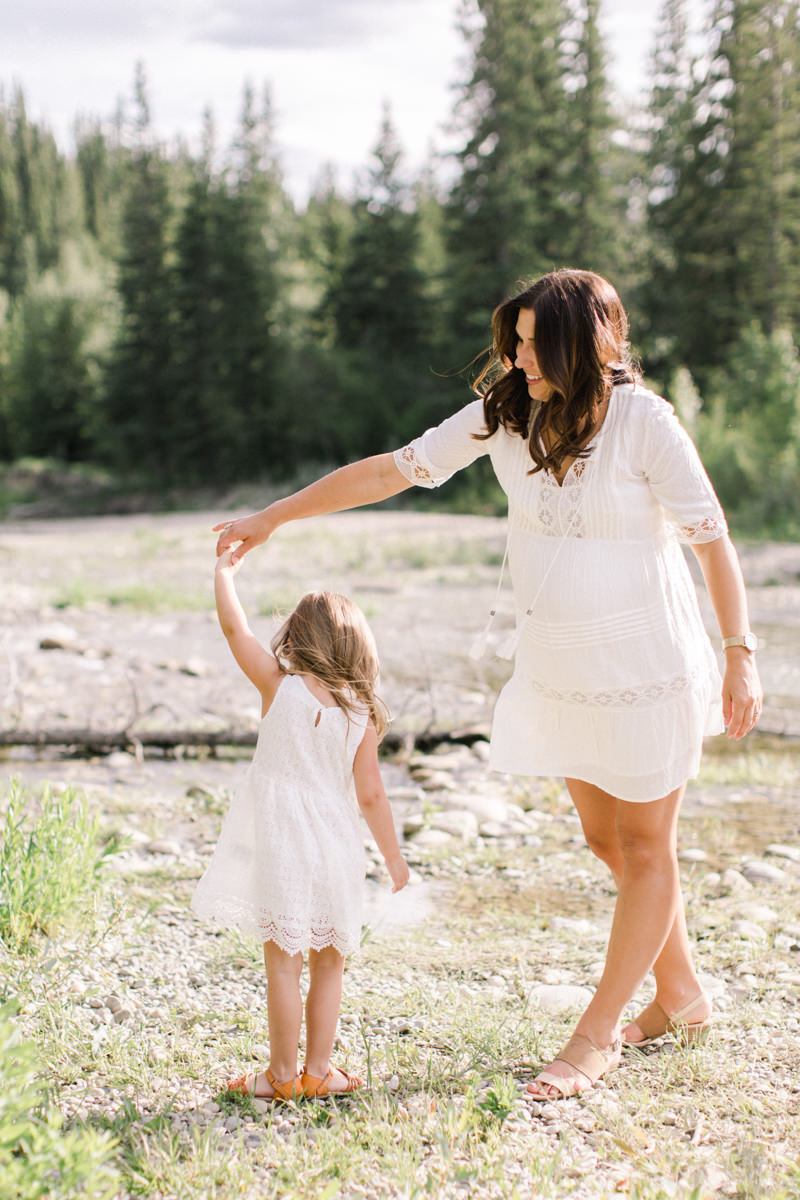 Calgary and Banff Maternity Photography outdoor session mother daughter dancing