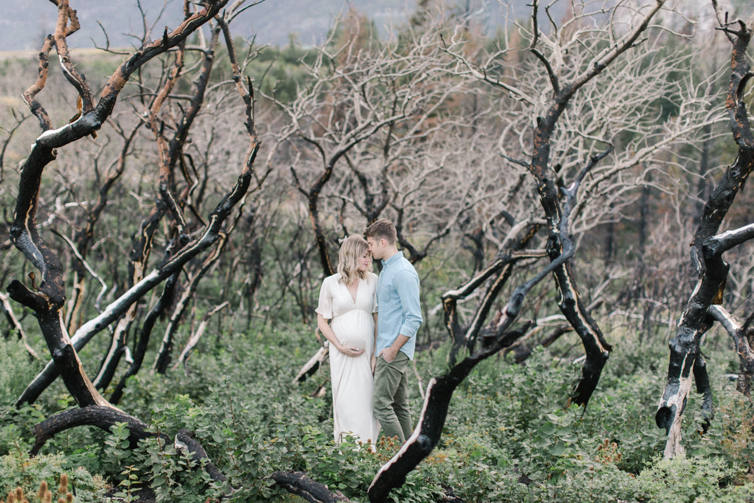 Calgary and Banff Maternity Photography outdoor Waterton summer session couple portrait in trees