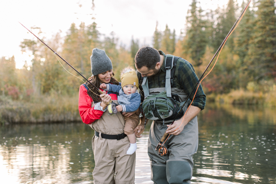 Family photo fishing with little toddler